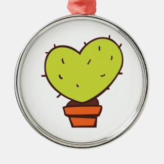 Heart Cactus Round Metal Christmas Ornament