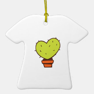 Heart Cactus Double-Sided T-Shirt Ceramic Christmas Ornament