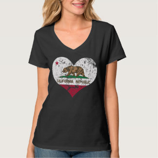 Heart California Republic Flag T Shirt