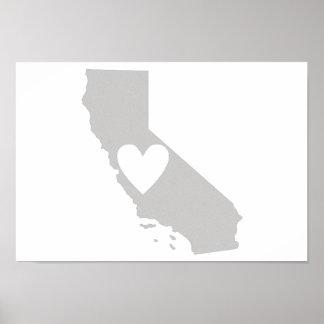 Heart California state silhouette Print
