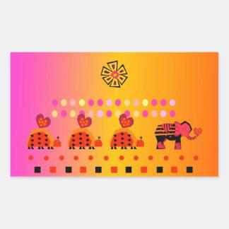 Heart Caravan w/ Background Rectangular Sticker