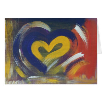 "Heart card - yellow and blue ""Wolverine"""