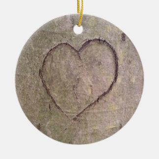 Heart Carved in a Tree Ceramic Ornament