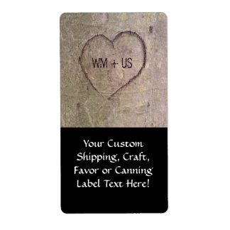 Heart Carved in a Tree Custom Shipping Label