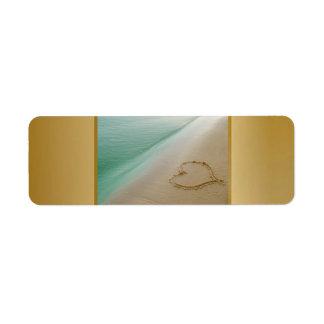 Heart Carved In The Sand Label Return Address Label