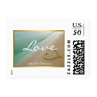 Heart Carved In The Sand Love Wedding Stamp