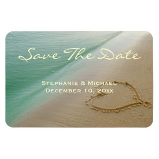 """Heart Carved In The Sand """"Save The Date"""" Magnet"""