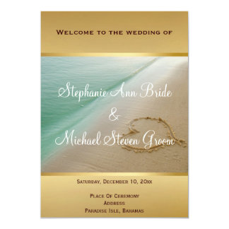 Heart Carved In The Sand Wedding Program Card