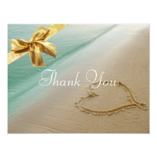 Heart Carved In The Sand Wedding Thank You Card2 Card