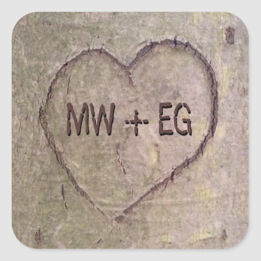 Heart Carved in Tree, Custom Romantic Nature Square Sticker