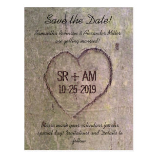 Heart Carved in Tree, Custom Save the Date Card
