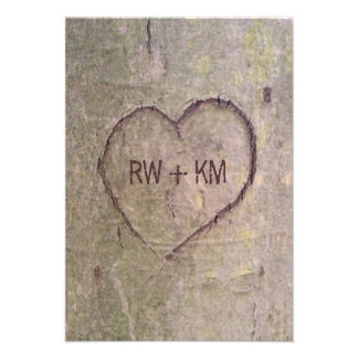 Heart Carved in Tree RSVP Reply Card Custom Invitation