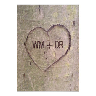 Heart Carved in Tree Wedding Invitations