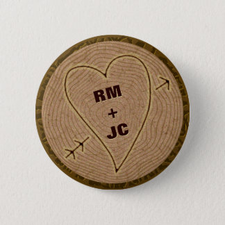 Heart Carved Initials Wood Tree Rings Personalized Button