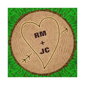 Heart Carved Initials Wood Tree Rings Personalized Canvas Print