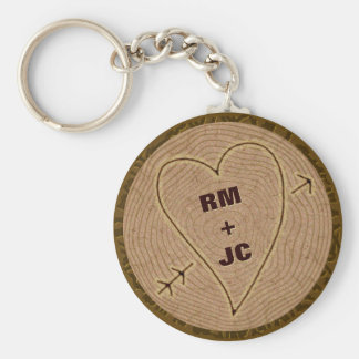 Heart Carved Initials Wood Tree Rings Personalized Keychain