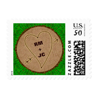Heart Carved Initials Wood Tree Rings Personalized Postage