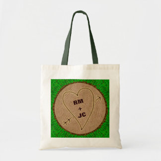 Heart Carved Initials Wood Tree Rings Personalized Tote Bag