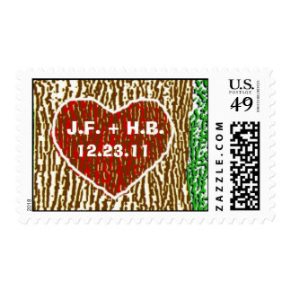 Heart Carved into Tree Postage Stamps