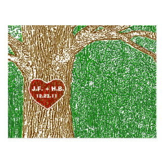 Heart Carved into Tree Post Cards