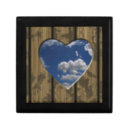 Heart carved out of wood with blue sky and clouds gift box
