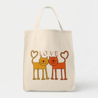 HEART CAT LOVE GROCERY BAG