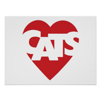 Heart Cats Poster