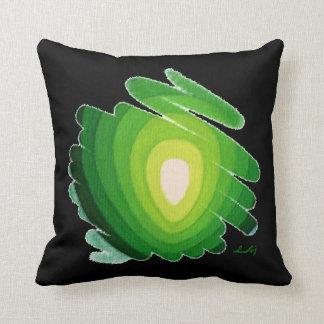 Heart Chakra Green on Black Throw Pillow