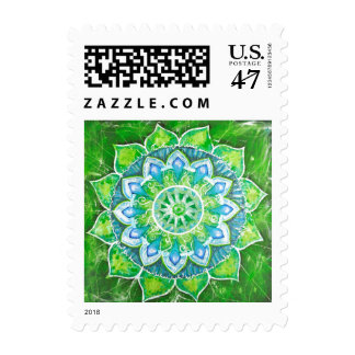 Heart chakra heal,aura green, energy system health postage