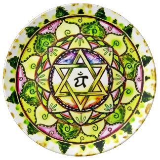 Heart Chakra Mandala Plate Porcelain Plates