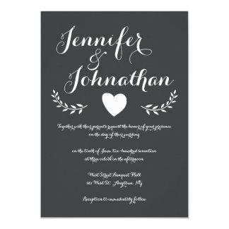 Heart chalkboard wedding invitations