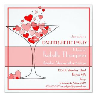 """Heart Champagne Bachelorette Party Invitation 5.25"""" Square Invitation Card"""