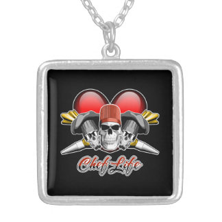 Heart Chef Life: Pastry Skulls Silver Plated Necklace