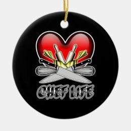 Heart Chef Life v2 Ceramic Ornament