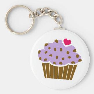 Heart Choco Chip Blueberry Cupcake Basic Round Button Keychain