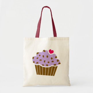 Heart Choco Chip Blueberry Cupcake Tote Bag