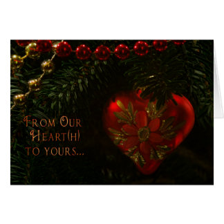 Heart Christmas Ornament Card w/Red Interior