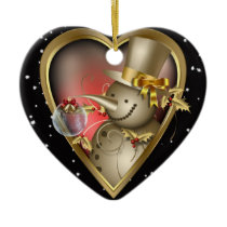 Heart Christmas Ornament - Gold Effect Snowman