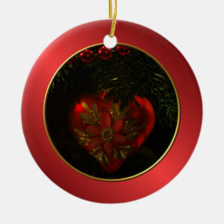 Heart Christmas Ornament Round Ornament