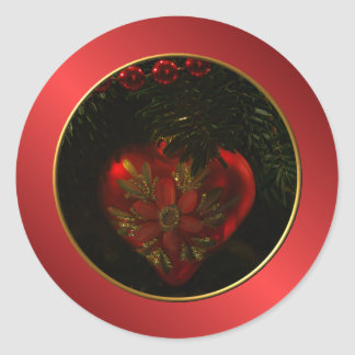 Heart Christmas Ornament Round Stickers