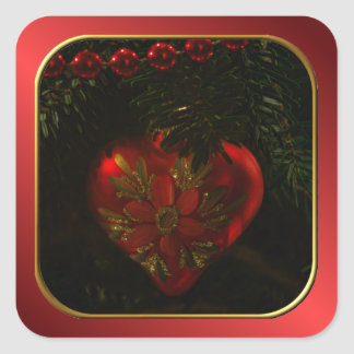 Heart Christmas Ornament Square Stickers