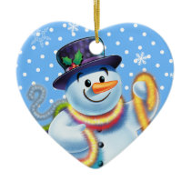 Heart Christmas tree decoration Snowman & tinsel.