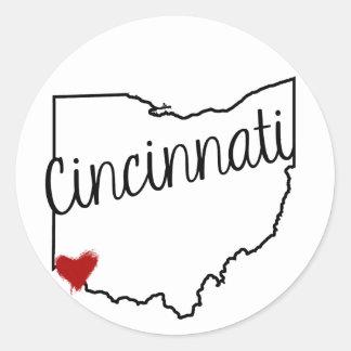 Heart Cincinnati Classic Round Sticker