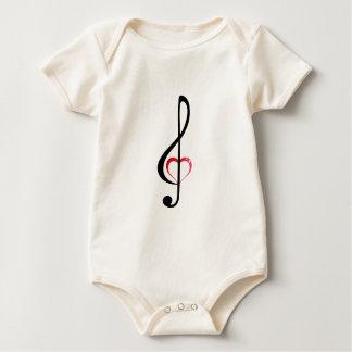Heart clef baby bodysuit