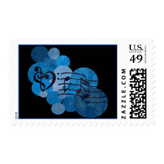 Heart clef Music notes + blue polka dots stamps