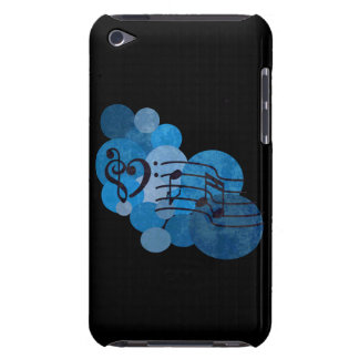 Heart clefs Music notes + blue polka dots ipod cas Barely There iPod Cover