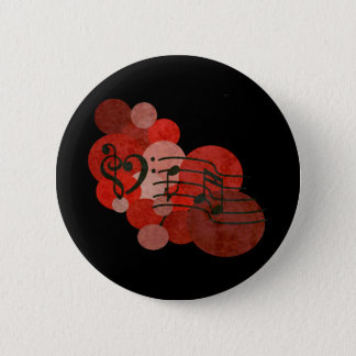 Heart clefs, music notes + red polka dots button