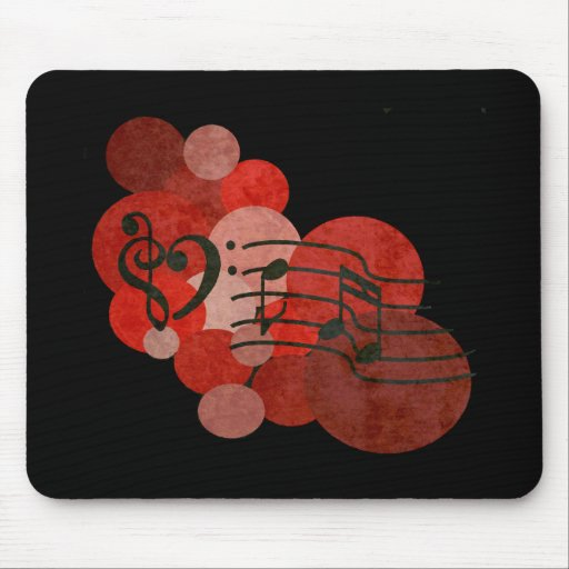 Heart clefs, music notes + red polka dots mouse pad