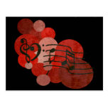 Heart clefs, music notes + red polka dots postcard