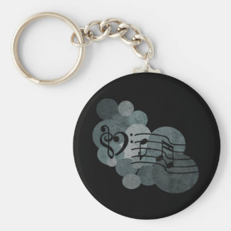 Heart clefs, music notes + silver grey polka dots basic round button keychain